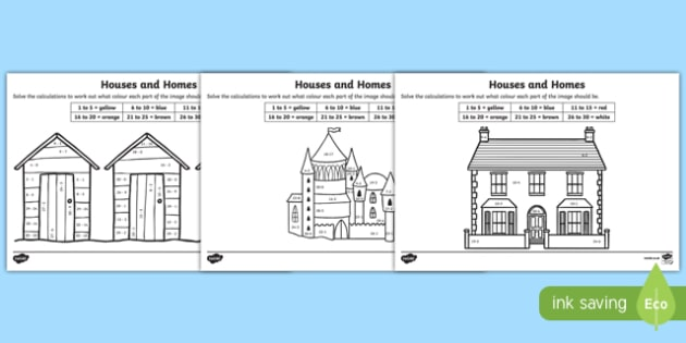 Houses and Homes Subtraction to 30 Colour by Number