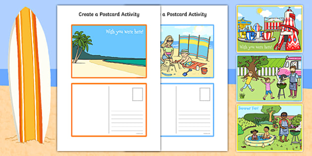 Create a Postcard Activity - Postcard, Postcard design, Seaside, fine motor skills, holidays, holiday, water, tide, waves, sand, beach, sea, sun, holiday, coast
