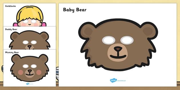 Goldilocks and the Three Bears Role Play Masks - Goldilocks, traditional tales, role play, mask, masks, tale, fairy tale, three bears, porridge, cottage, beds