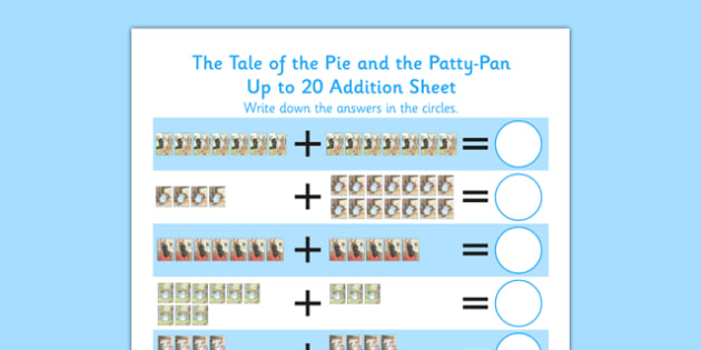 Beatrix Potter - The Tale of the Pie and the Patty Pan Up to 20 Addition Sheet - beatrix potter, pie, patty pan, up to 20, addition, sheet