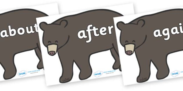 KS1 Keywords on Grizzly Bears - KS1, CLL, Communication language and literacy, Display, Key words, high frequency words, foundation stage literacy, DfES Letters and Sounds, Letters and Sounds, spelling
