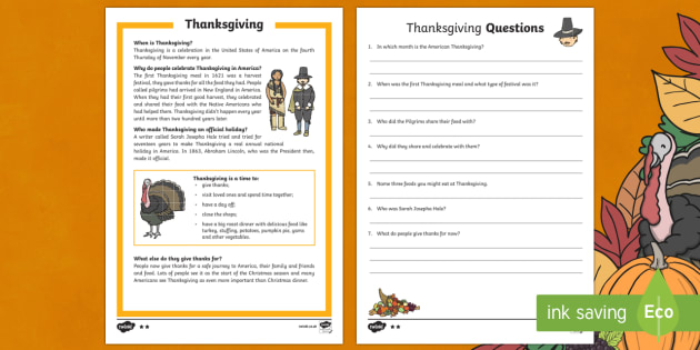 KS1 Thanksgiving Differentiated Reading Comprehension Activity