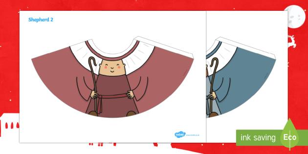 Shepherd Nativity Cone Characters - 3D paper craft, cone, cone character, Christmas, Nativity, baby Jesus, shepherds, manger, Bethlehem,