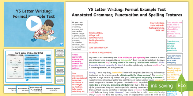 Y5 Letter Writing: Formal Model/Example Text - Example Texts Y5, goodnight mister tom, world war II, exemplification, moderating, moderation, wagol, ARE, age-related example, model, model text, age-related model