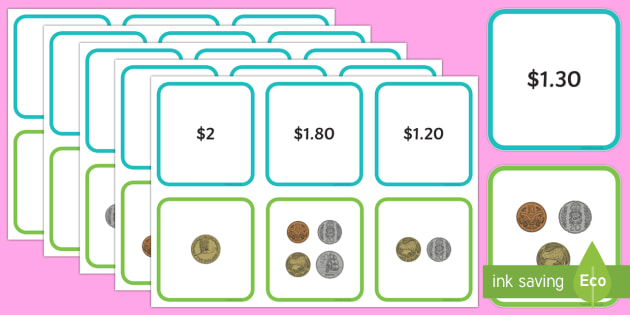 New Zealand up to $2 Matching Cards - New Zealand Money,coins, notes, $2, matching