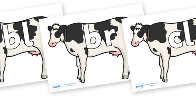 Initial Letter Blends on Cows - Initial Letters, initial letter, letter blend, letter blends, consonant, consonants, digraph, trigraph, literacy, alphabet, letters, foundation stage literacy