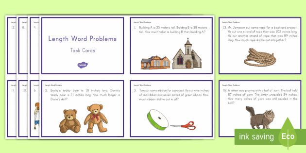 Length Word Problems Task Cards - Common Core, Second Grade, Measurement, Length