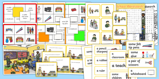 School Vocabulary and Comprehension Pack with Noun Determiners
