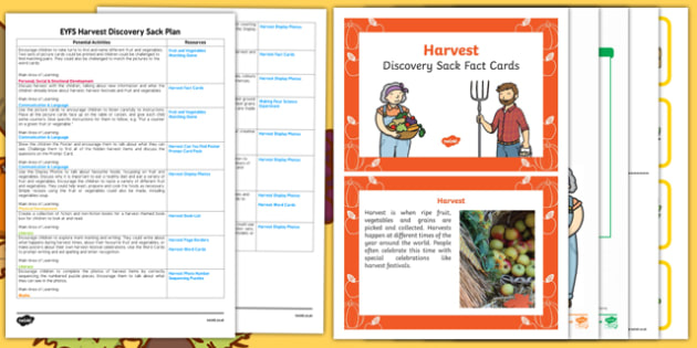 EYFS Harvest Discovery Sack Plan and Resource Pack - harvest, autumn, festivals