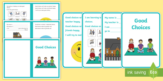 Good Choices Social Situation - social story, good choices, home, school, autism, bad behaviour, good behaviour