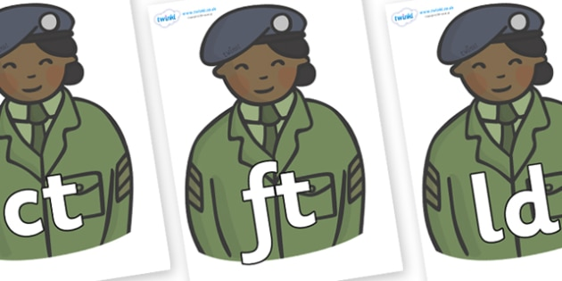 Final Letter Blends on Officers - Final Letters, final letter, letter blend, letter blends, consonant, consonants, digraph, trigraph, literacy, alphabet, letters, foundation stage literacy