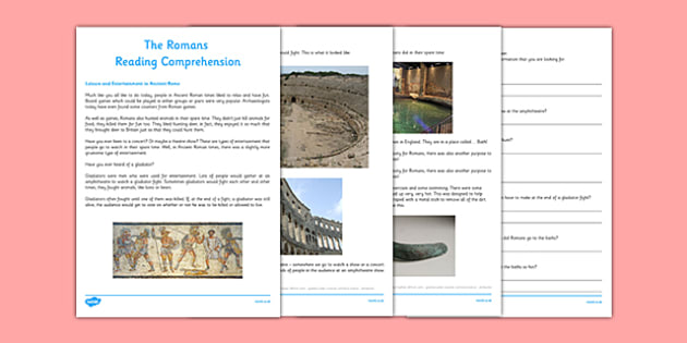The Romans Leisure Activities Reading Comprehension CfE First Level - CfE, Social Studies, History, Romans, Leisure, Hobbies, Amphitheatre, Gladiators, Baths