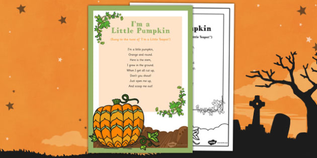 I'm a Little Pumpkin Rhyme - EYFS, Halloween, pumpkin, poem