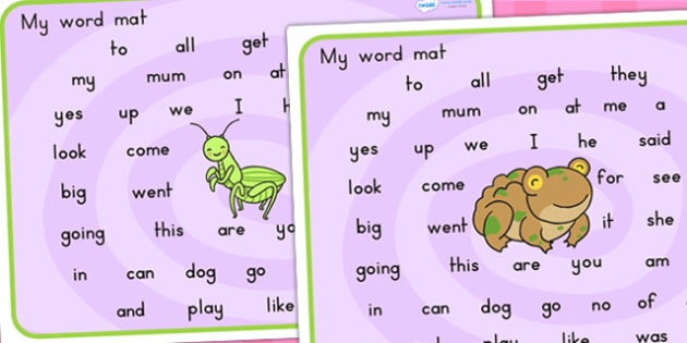 Minibeasts Cute Themed Word Mat FS2 - visual aid, keywords