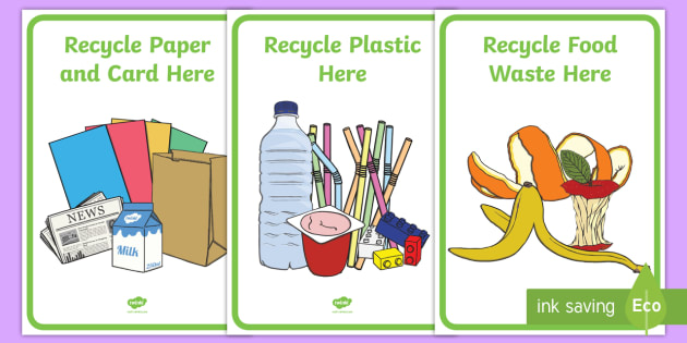 Classroom Recycling Bin Posters Labels - bin, displays, posters