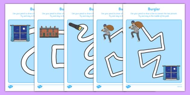 Burglar Pencil Control Path Activity Sheet Pack - burglar bill, burglar, pencil control path, activity, worksheet