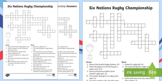 Six Nations Rugby Championship Crossword-Scottish - CfE, calendar events, Scotland, Scottish, traditions, history, celebrations, six nations, 6 nations,