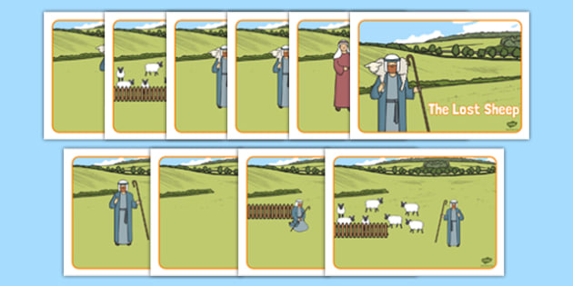 The Lost Sheep Story Sequenging (A4) - the Lost Sheep, sheep, shepherd, lost sheep, sequencing, story sequencing, story resources, A4, cards, 100, 99, search, searching, looking for, safe, carried home, bible story, bible, party, happy