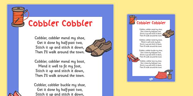 Cobbler, Cobbler Nursery Rhyme Poster - cobbler cobbler, cobbler, nursery rhyme, nursery, rhyme, poster, display