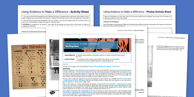 The Holocaust Using Evidence to Make a Difference Pack - holocaust, Holocaust Memorial Day, PSHE, suffering, Religious Studies, History, Second World War