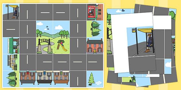 Bee Bot Road and Buildings Mat - activity mat, bee bot activities