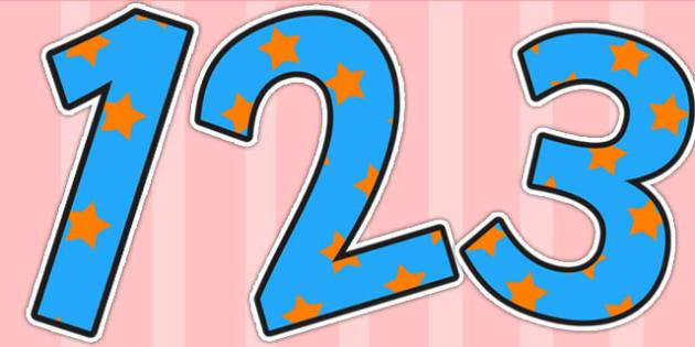 Blue and Orange Stars Display Numbers - display numbers, blue, orange, stars