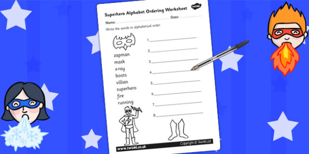 Superhero Themed Alphabet Ordering Worksheet Differentiated