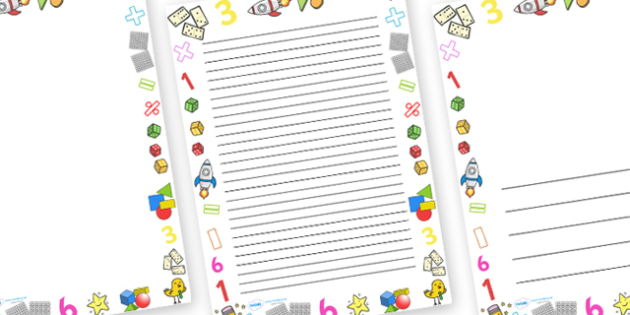 Numeracy Full Page Border - page border, border, frame, writing frame, writing template, numeracy, numbers, numeracy borders, numeracy pages, writing aid, writing, A4 page, page edge, writing activities, lined page, lined pages