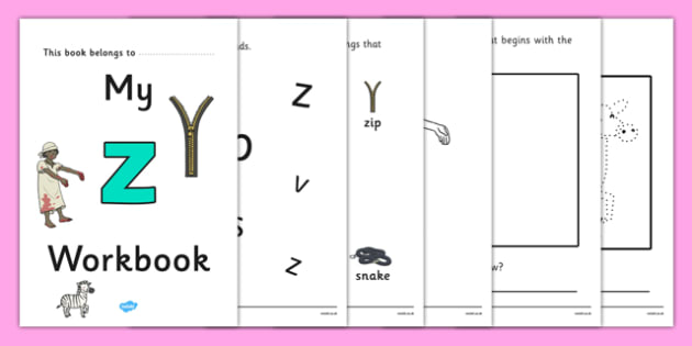 My Workbook z lowercase - workbook, z sound, lowercase, letters, alphabet, activity, handwriting, writing