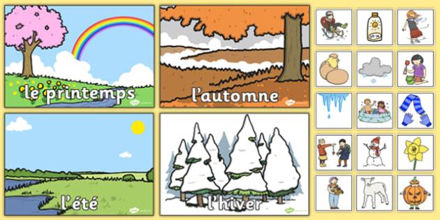 Seasons Sorting Activity - french, seasons, sorting, activity, game