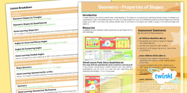 PlanIt Y4 Properties of Shapes Unit Overview - PlanIt, Properties of Shapes