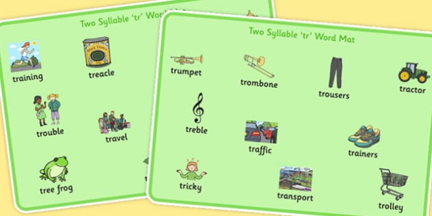 Two Syllable 'TR' Word Mats - tr sound, syllable, word mats, sound