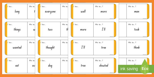 Sight Words - Orange Loop Cards