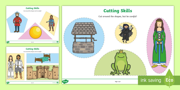 The Frog Prince Themed Cutting Skills Worksheet - motor skills