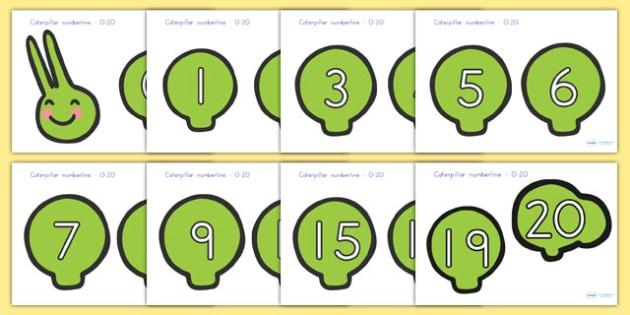 Caterpillar Number Line 0 20 - minibeast, caterpillar, number line