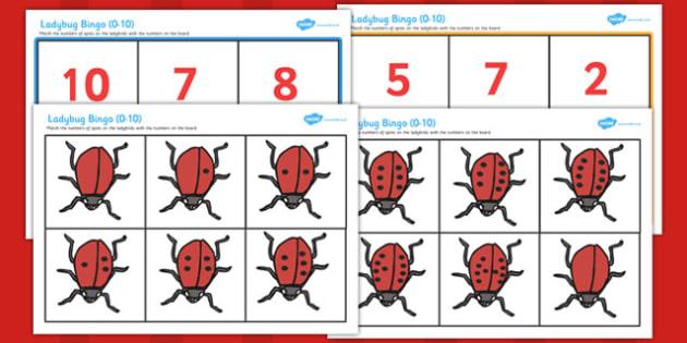 Ladybug Bingo 0-10 - ladybug, bingo, game, activity, class, lesson