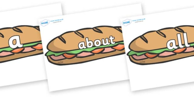100 High Frequency Words on Sandwiches - High frequency words, hfw, DfES Letters and Sounds, Letters and Sounds, display words