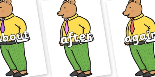 KS1 Keywords on Mr Bear to Support Teaching on The Jolly Christmas Postman - KS1, CLL, Communication language and literacy, Display, Key words, high frequency words, foundation stage literacy, DfES Letters and Sounds, Letters and Sounds, spelling