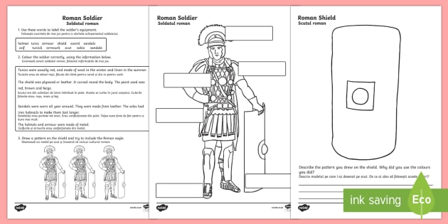 Roman Soldiers Worksheet English/Romanian