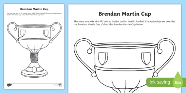 Brendan Martin Cup Colouring Activity Sheet-Irish, worksheet