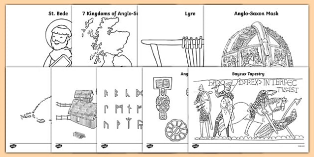 Anglo Saxons Colouring Sheets - Anglo Saxon, Saxons, Anglo-saxon, history, colouring, fine motor skills, poster, worksheet, vines, A4, display, Northumbria, Kent, bronze helmet, East Anglia, Bayeux Tapestry, St. Bede, Offa's Duke, jewellery, Wessex,