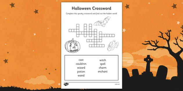 Halloween Crossword - halloween, crossword, cross word, word games, word activities, wet play, wet play activities, wet play games, classroom games, games