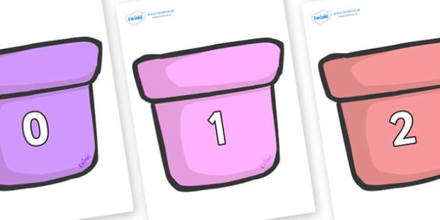 Numbers 0-100 on Plant Pots - 0-100, foundation stage numeracy, Number recognition, Number flashcards, counting, number frieze, Display numbers, number posters