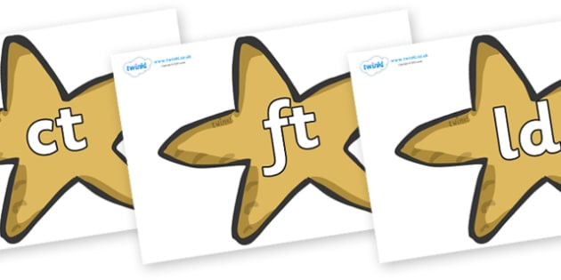Final Letter Blends on Starfish - Final Letters, final letter, letter blend, letter blends, consonant, consonants, digraph, trigraph, literacy, alphabet, letters, foundation stage literacy