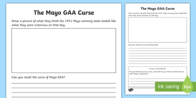 The Mayo GAA Curse Writing Activity Writing Template-Irish