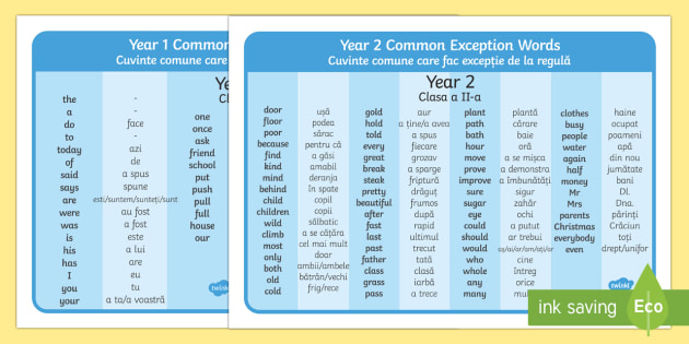 Common Exception Words Years 1 and 2 Word Mat English/Romanian