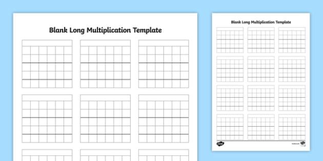 Blank Long Multiplication Template - multiplication methods, written method