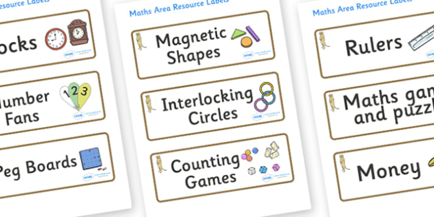 Meerkat Themed Editable Maths Area Resource Labels - Themed maths resource labels, maths area resources, Label template, Resource Label, Name Labels, Editable Labels, Drawer Labels, KS1 Labels, Foundation Labels, Foundation Stage Labels, Teaching Lab