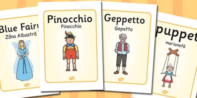 Pinocchio Display Posters Romanian Translation - romanian, poster