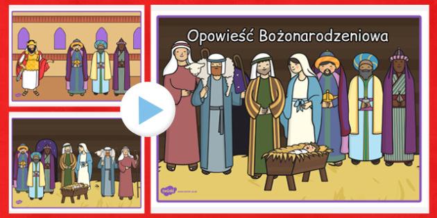 Karty bez tekstu Opowieść Bożonarodzeniowa po polsku - dzieci , Polish